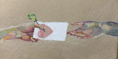 Artwork by Jenna Tancredi illustrating students' lending a hand to others.