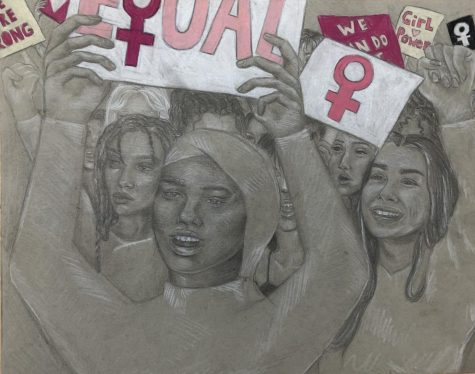 Artwork by Jenna Tancredi 21 representing a womens rights protest.