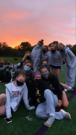 Varsity field hockey team after their first win of the season.