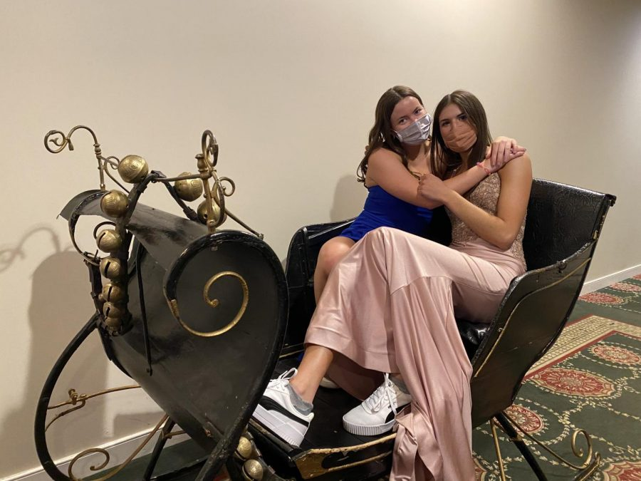 Maura Scanlon 21 and Ena Altier 21 slay in a sleigh while taking a break from the dance floor.